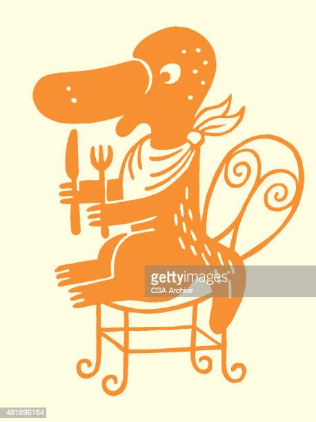 platypus and fork and knife - duck billed platypus stock illustrations
