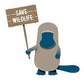 Platypus cartoon character holding environmental sign board