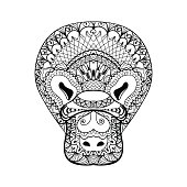 Platypus head totem for adult anti stress Coloring Pag