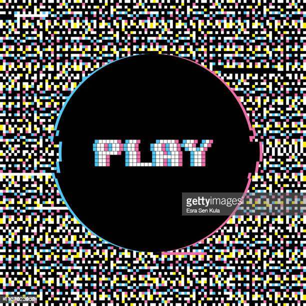 play banner with glitch noise retro effect - beginnings stock illustrations
