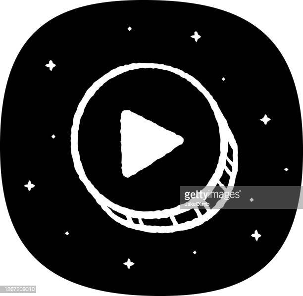 play button doodle 6 - play off stock illustrations