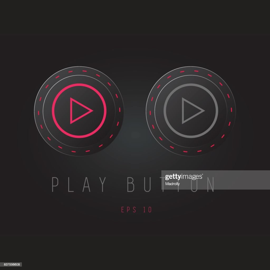 Play button icon design on modern flat background