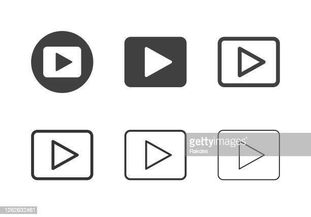 play button icons - multi series - personal compact disc player stock illustrations