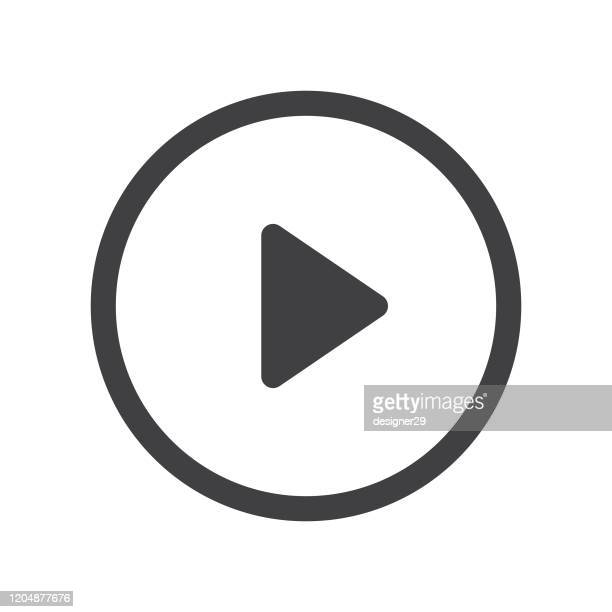 play button with shadow on white background vector design. - playing stock illustrations