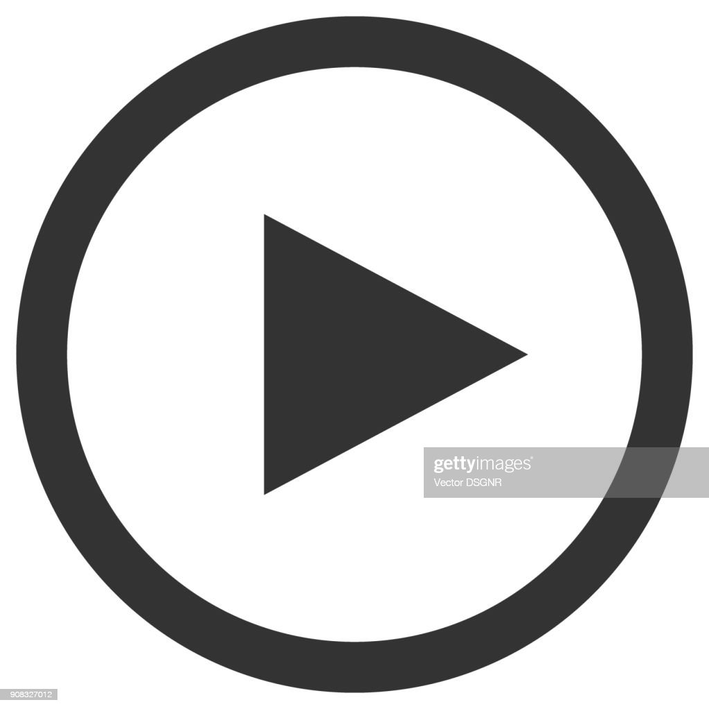 Play icon in circle. Media player control button. Vector