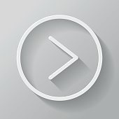 Play Paper Thin Line Interface Icon With Long Shadow