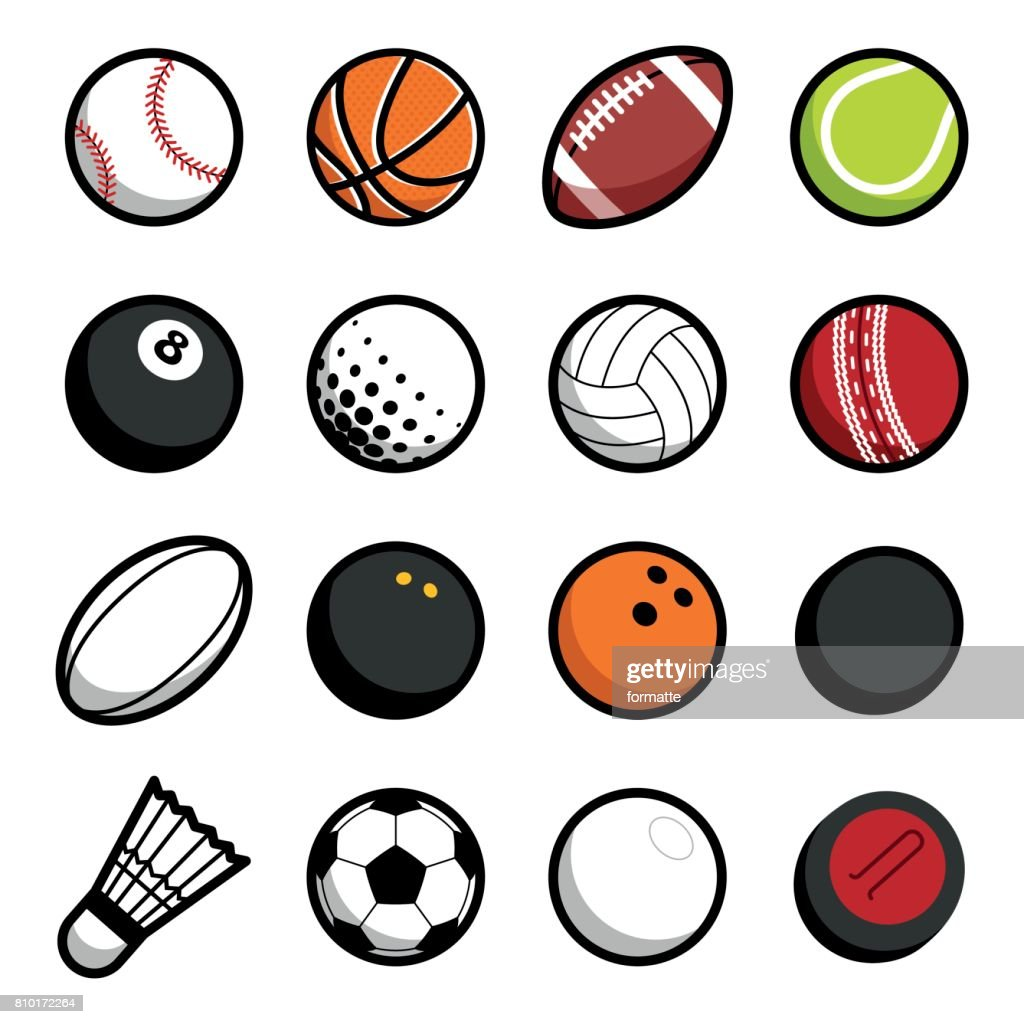 Play sport balls icon set isolated objects on white background