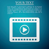 Play video flat icon on blue background. Vector Illustration