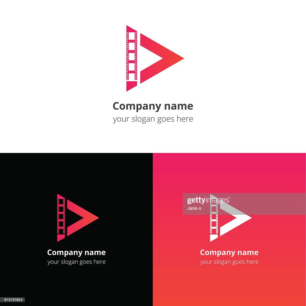 Play video media and movie strips logo icon vector template