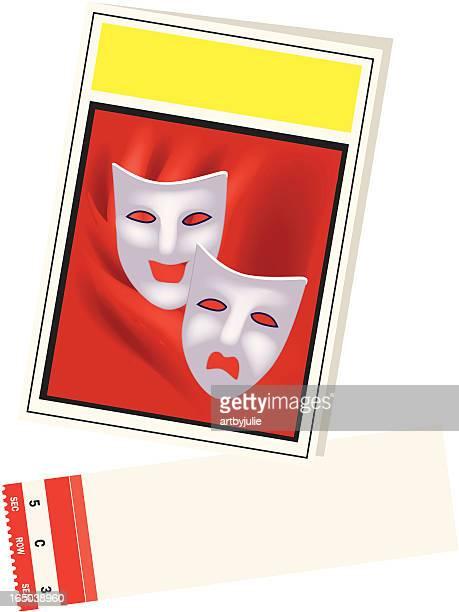 playbill とチケット、エリアに設定 - 悲劇の面点のイラスト素材/クリップアート素材/マンガ素材/アイコン素材
