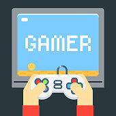 Player Hands Games Joystick TV Monitor Screen Template Flat Icon Vector Illustration