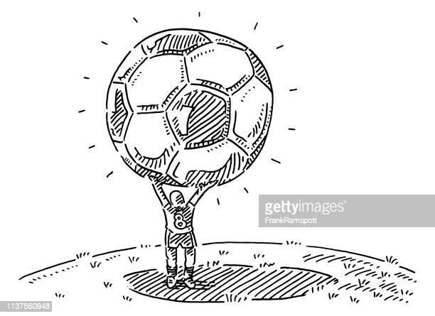 illustrations, cliparts, dessins animés et icônes de joueur retenant le dessin de bille de soccer surdimensionné - surdimensionné