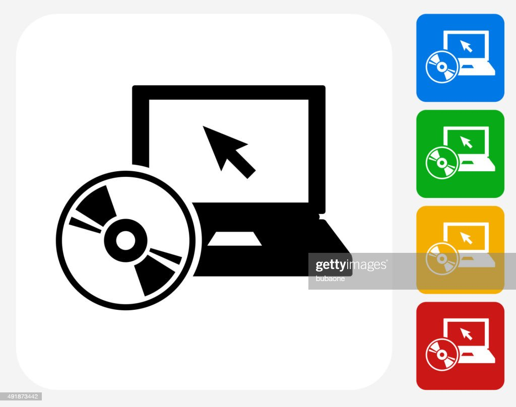 DVD Player Icon Flat Graphic Design