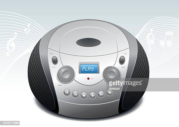 cd player - personal compact disc player stock illustrations