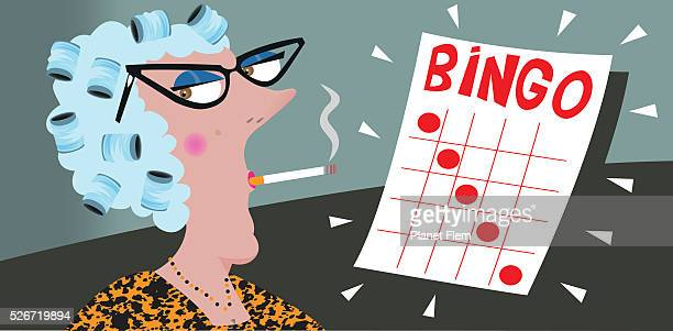 bingo player - bingo stock illustrations