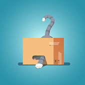 Playful curious cat in a cardboard box pulled out his paw & looking out of his hiding. Flat isolated vector