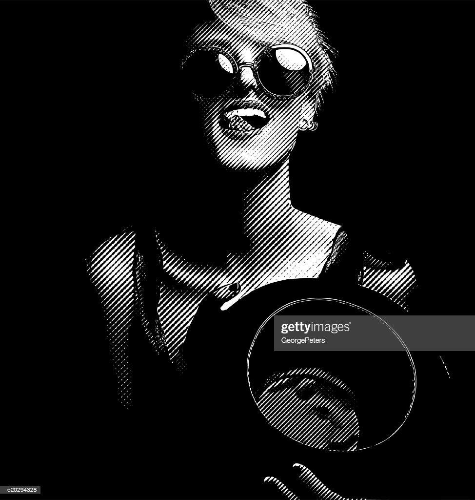 Playful, laughing, flirting woman licking lips