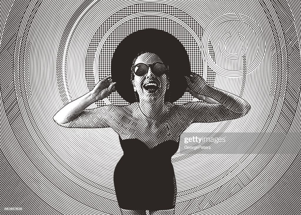Playful young woman laughing : stock illustration