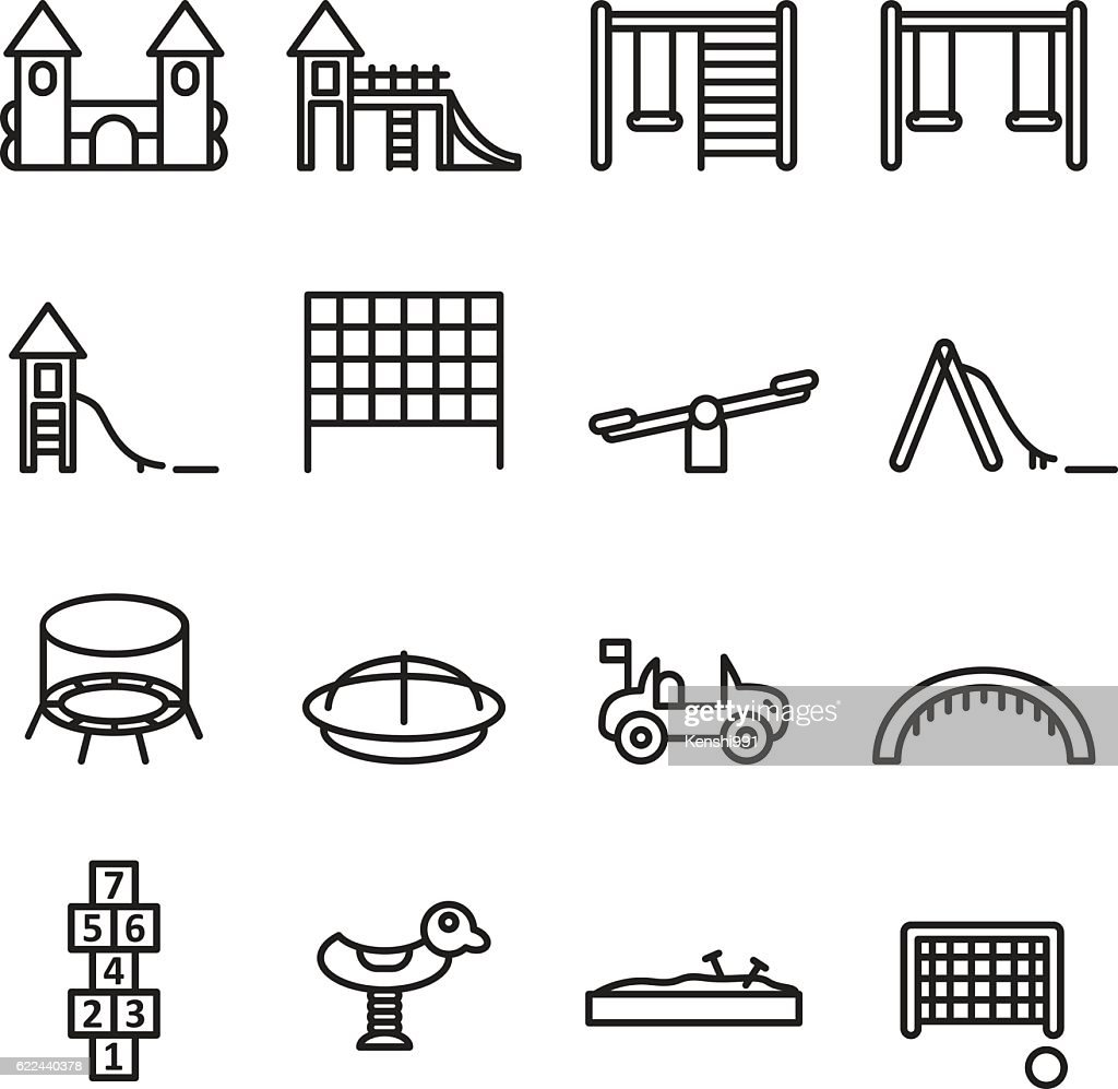 Playgorund thin line icon set. Vector .