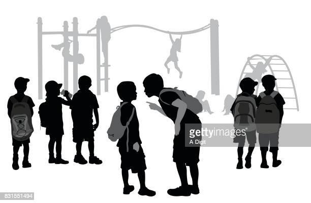 ilustraciones, imágenes clip art, dibujos animados e iconos de stock de parque infantil acoso escolar - bullying