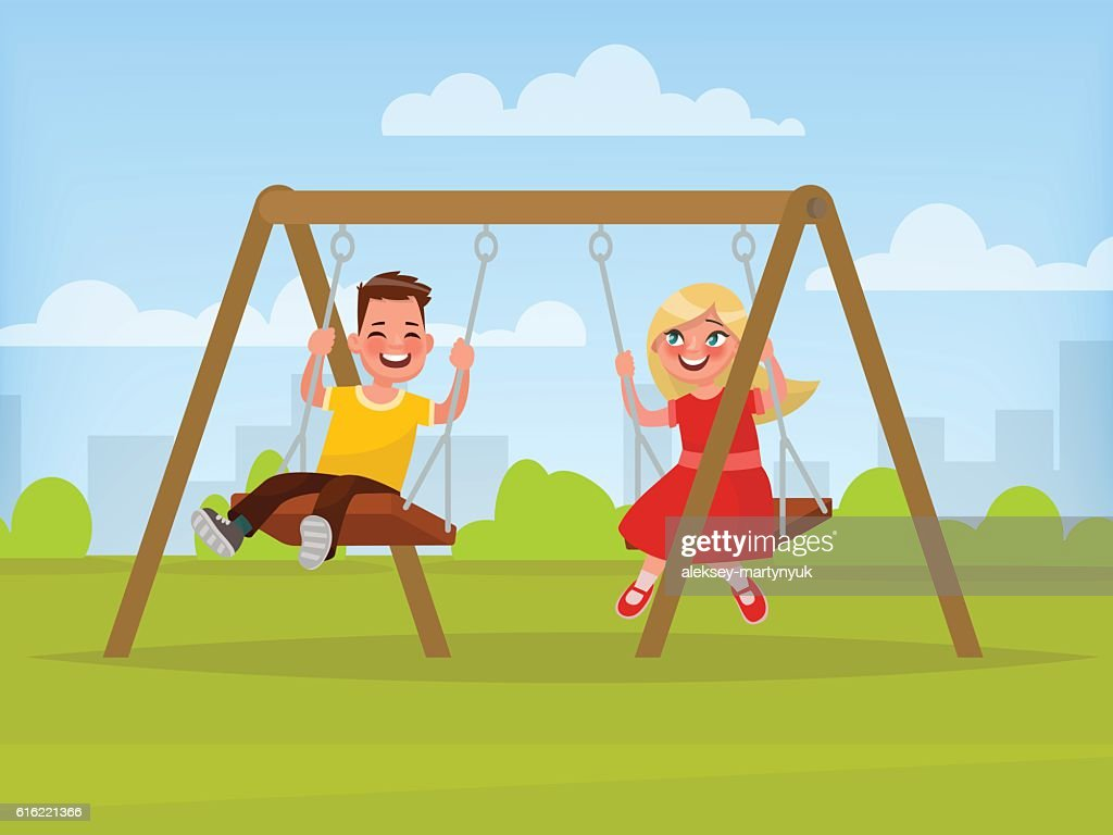 Playground. Children swinging on a swing. Vector illustration : Vektorgrafik