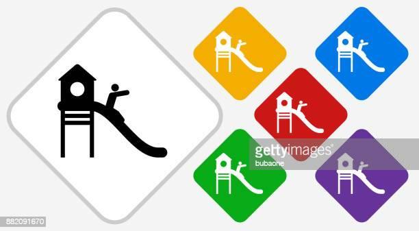 ilustraciones, imágenes clip art, dibujos animados e iconos de stock de patio color diamante vector icono - parque infantil