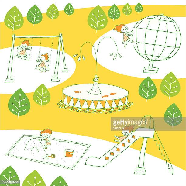playground equipment of a park - fountain stock illustrations, clip art, cartoons, & icons