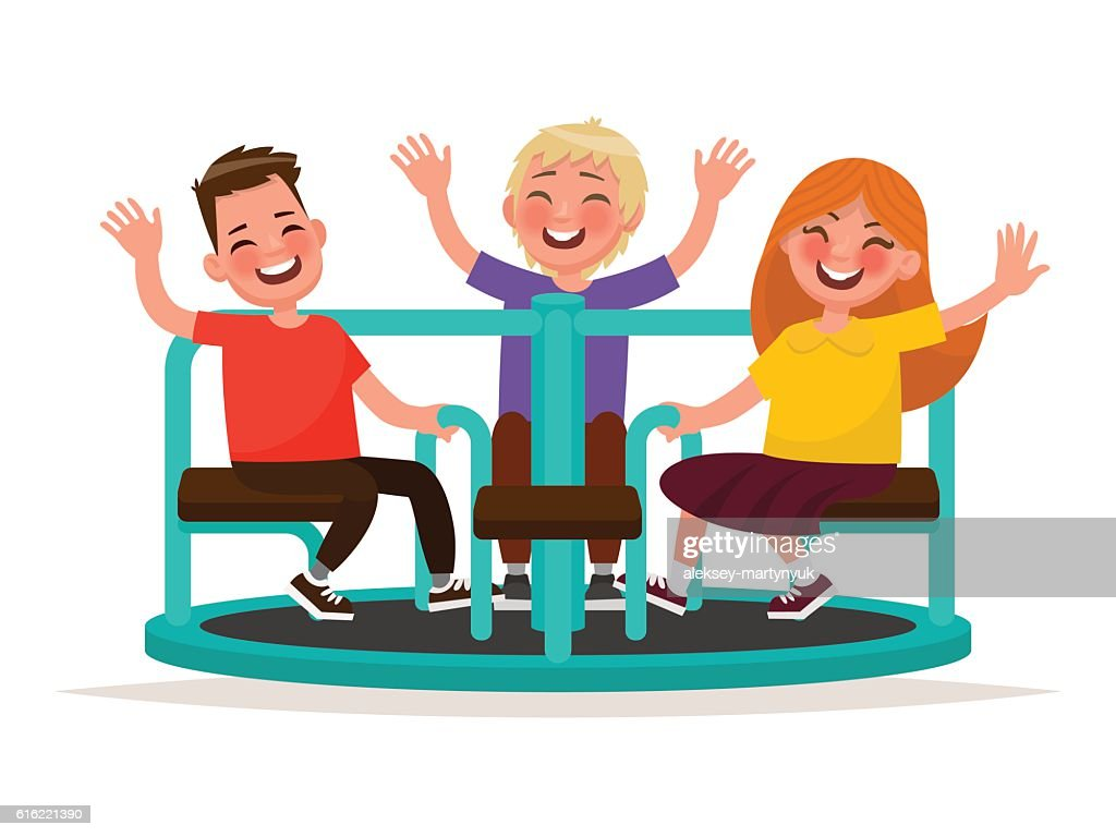 Playground. Funny kids whirl on the carousel. Vector illustratio : Vector Art