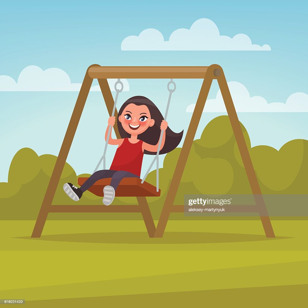 Playground. Girl swinging on a swing. Vector illustration : Vectorkunst