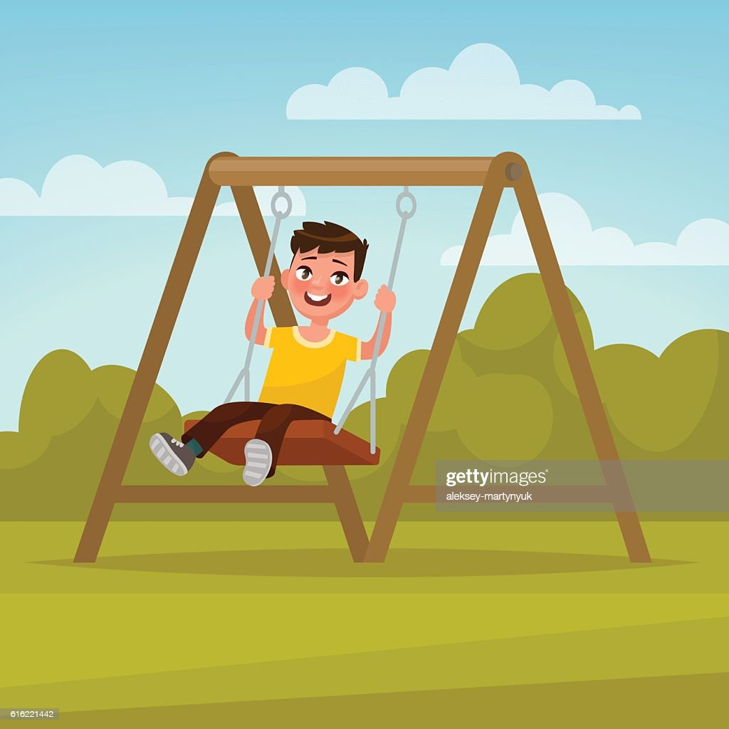 Playground. Happy boy swinging on a swing. Vector illustration : Vector Art
