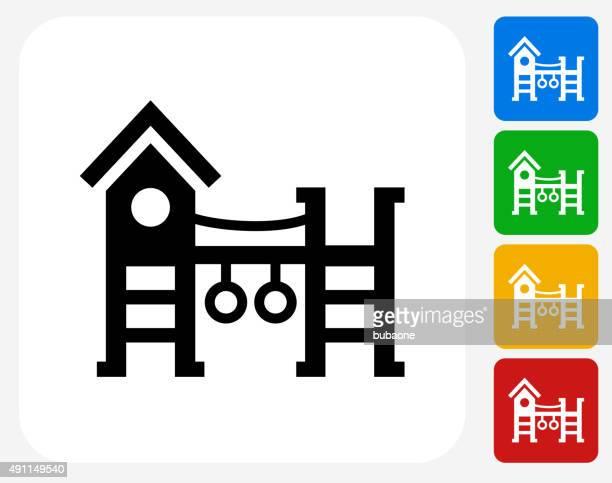 ilustraciones, imágenes clip art, dibujos animados e iconos de stock de patio de juegos de iconos planos de diseño gráfico - parque infantil