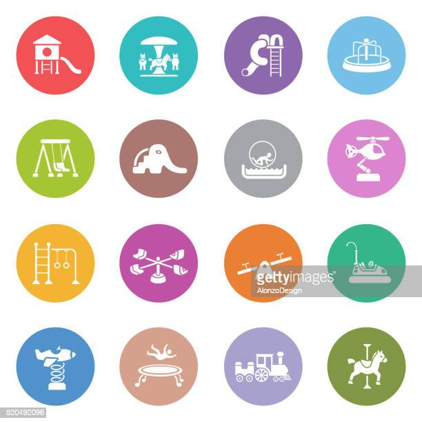 playground icon set - school yard stock illustrations, clip art, cartoons, & icons