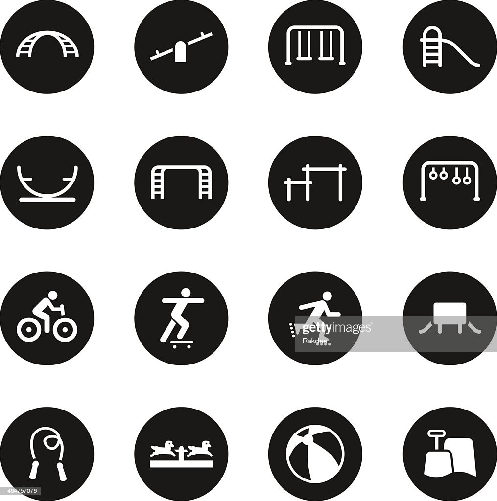 Playground icons set 1 black circle series vector art getty images for Black circle vector