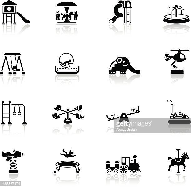 playground icons set - carnival ride stock illustrations, clip art, cartoons, & icons