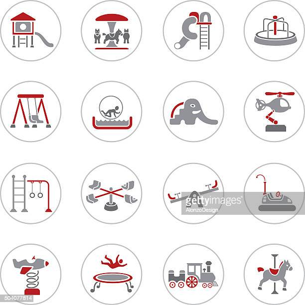 ilustraciones, imágenes clip art, dibujos animados e iconos de stock de iconos de juegos - parque infantil