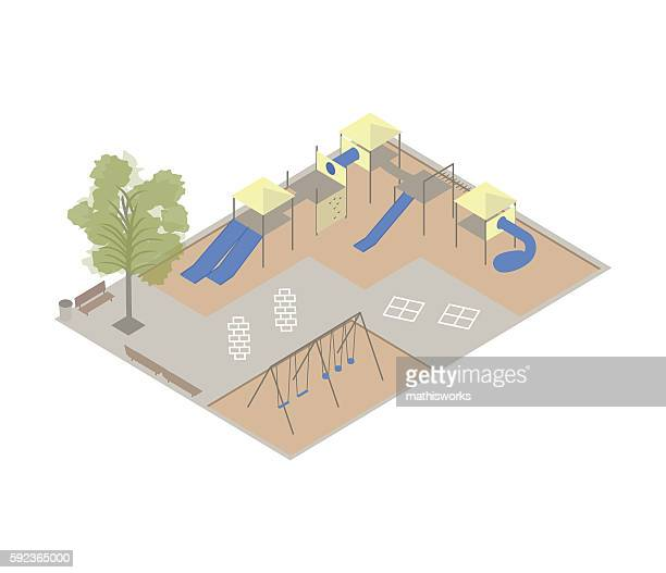 ilustraciones, imágenes clip art, dibujos animados e iconos de stock de playground isometric illustration - patio de colegio