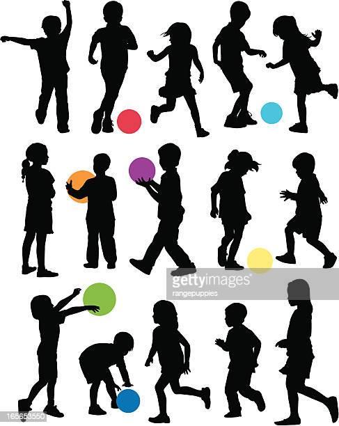 stockillustraties, clipart, cartoons en iconen met playground kids - schoppen lichaamsbeweging