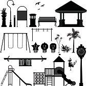 Playground Park Garden Equipment Silhouette Vector