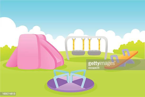 ilustraciones, imágenes clip art, dibujos animados e iconos de stock de patio de juegos - caballitos del tiovivo