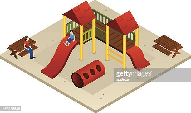 ilustraciones, imágenes clip art, dibujos animados e iconos de stock de patio de juegos - parque infantil