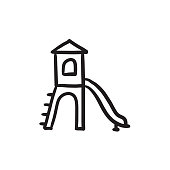 Playground with slide sketch icon