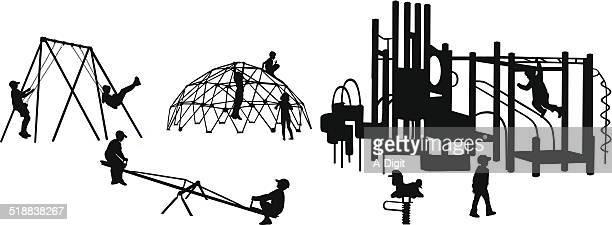 ilustraciones, imágenes clip art, dibujos animados e iconos de stock de playgroundequipment - parque infantil