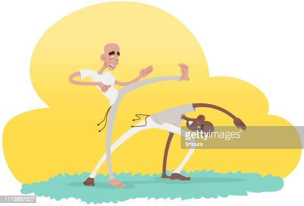 ilustrações de stock, clip art, desenhos animados e ícones de playing capoeira brazil - capoeira