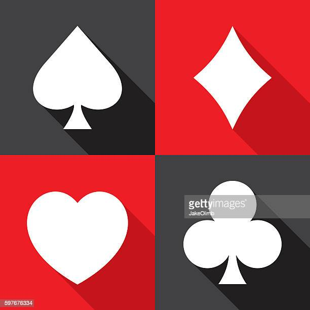 Playing Card Suit Icons Flat Set