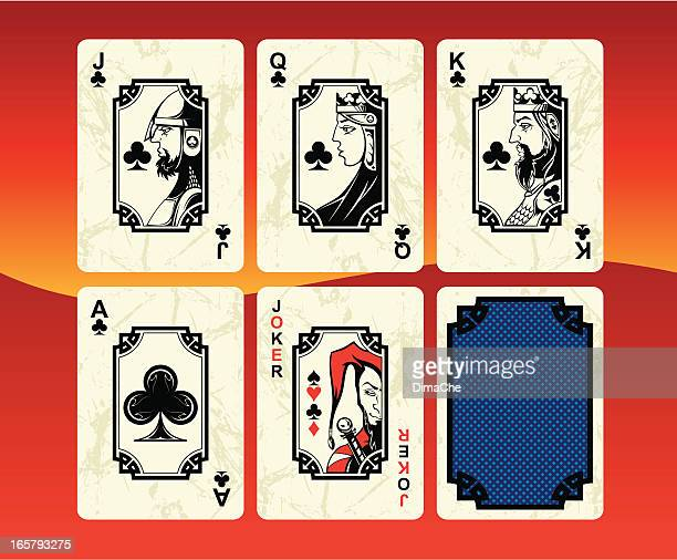 Playing cards clubs set