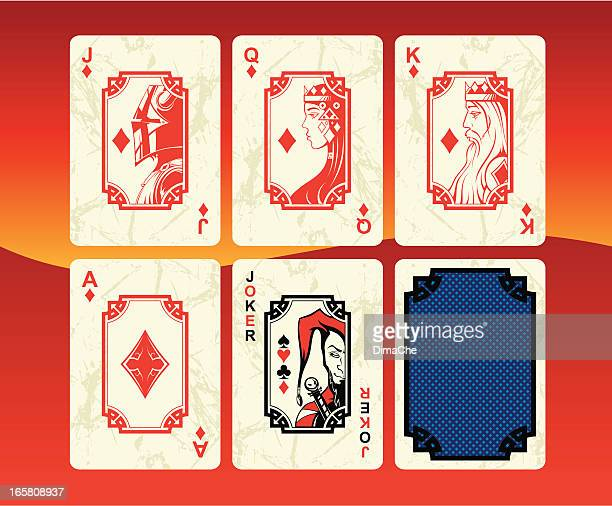 playing cards diamonds set - joker card stock illustrations, clip art, cartoons, & icons