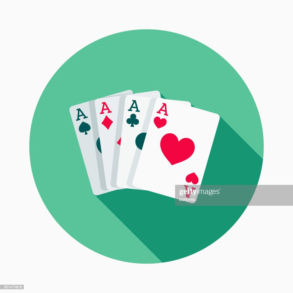 Playing Cards Flat Design Casino Icon with Side Shadow