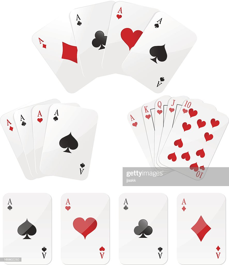 Playing cards Four aces and  Royal Flush
