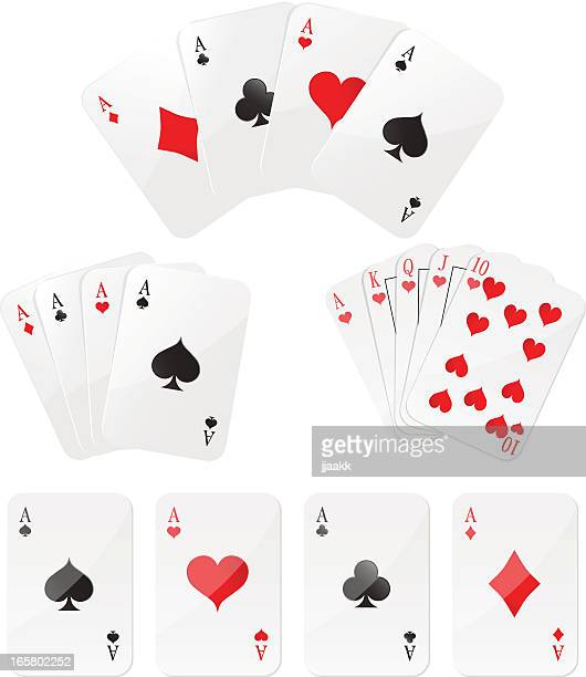playing cards four aces and  royal flush - ace stock illustrations, clip art, cartoons, & icons