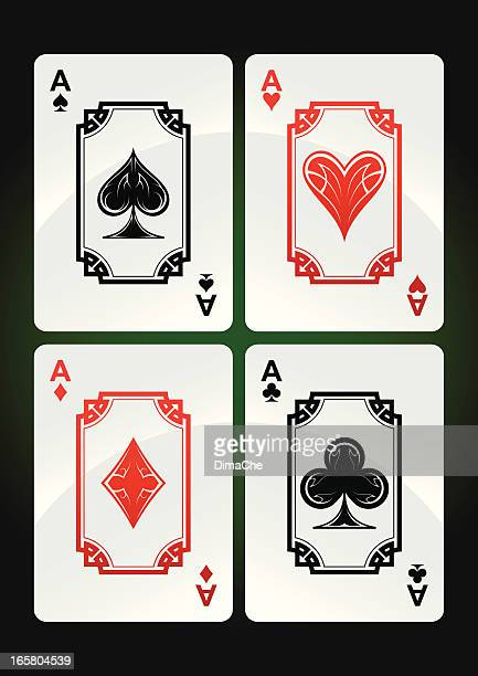 playing cards set (aces) - ace stock illustrations, clip art, cartoons, & icons